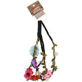 Fashion Tidbits, Braided Headbands with Silk Wildflowers, Black Elastic, 2 Headbands