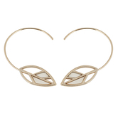 His Truly, Hoop with Abalone Leaf Dangle Earrings, Zinc Alloy, Gold