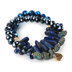 Radiant Sol, Philippians 4:13 Beaded Stretch Bracelet Set, Glass and Natural Lapis Lazuli, Gold and Blue, 2 Pieces