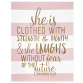 She is Clothed with Strength Canvas Art, Pink and White, 11 x 14 x 1 inch