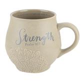 DaySpring, Stoneware Bible Verse Psalm 28:7 Strength Mug, Textured Ceramic, Natural, 14 Ounces