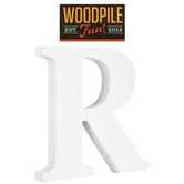 Woodpile Fun, Stand Alone Wood Letter - R, 3 inches, White