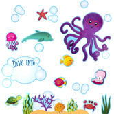 Renewing Minds, Sea Creatures Bulletin Board Set, Multi-Colored, 53 Pieces