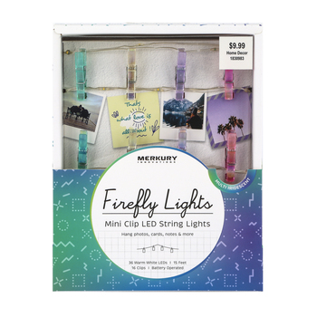 Merkury Innovations, Iridescent Firefly Lights Mini Clip LED String Lights, Multicolored, 15 feet