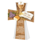 Dicksons, John 6:35 My First Communion Table Cross, Resin, White and Tan, 4 x 5 1/4 inches