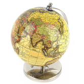 Antique Yellow and Silver Decorative World Globe, 4.75 x 7.50 x 8.75 Inches