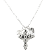 Bella Grace, Amazing Grace Cross with Pearl & Angel Wing Necklace, Zinc Alloy, Silver, 28 inch Chain