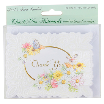 Carol Wilson, Daisies and Butterflies Thank You Note Cards, 10 Cards with Envelopes