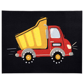 Dump Truck Wall Decor, Canvas, Red and Yellow, 11 x 14 x 1 1/4 inches