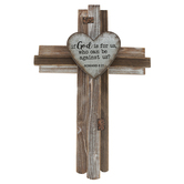 Romans 8:31 Wall Cross, Wood Strips and Tin, Brown, 15 x 22 inches