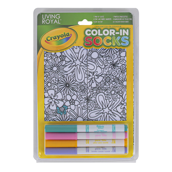 Crayola, Living Royal Flower Fun Color-In Socks, Polyester, White, Fits Child Size 9 to Women's Size 11, 1 Pair