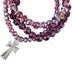 Bella Grace, Multi-Beaded Stretch Bracelets with Cross Charm, Set of 3, Plastic Beads, Purple