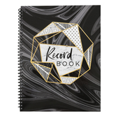 Renewing Minds, Black and Gold Marble Record Book, Spiral