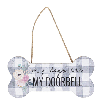 My Dogs Are My Doorbell Bone Shaped Wall Plaque, MDF, Gray & White, 7 3/4 x 3 3/4 inches
