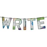 Retro Chic Collection, WRITE Word Banner, Multi-Colored, 12 Inch Letters