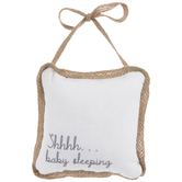 Shhhh... Baby Sleeping Pillow Door Hanger, White,  6 1/2 x 6 1/2 x 2 1/4 Inches