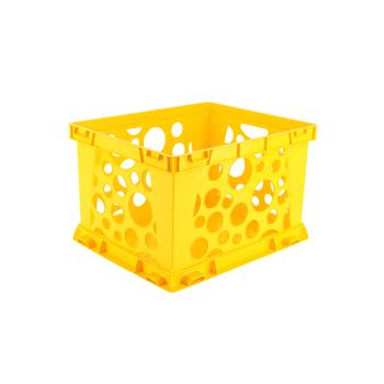 Storex, Premium File Storage Crate, Yellow, 17.25 x 14.25 x 10.50 Inches, 1 Piece