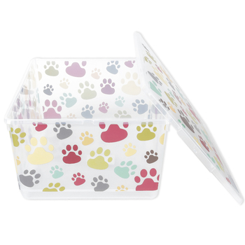 Curver, Paw Prints Storage Container with Lid, Plastic, Clear, 14 3/8 x 11 1/4 x 6 3/4 Inches, 2 Pieces