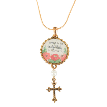 Modern Grace, Leaning On The Everlasting Arms Necklace, Zinc Alloy & Brass, Gold, 22 inches