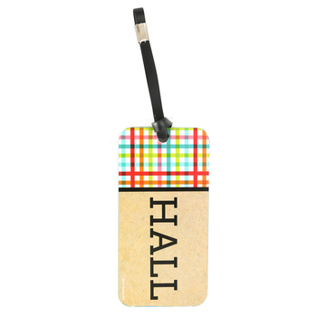 TooCute Collection, Hall Pass, 3 x 6  Inches, Craft-tan and Black with Bright Plaid
