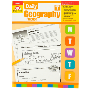 Evan-Moor, Daily Geography Practice Teacher's Edition, Paperback, 160 Pages, Grade 2