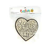 Playside Creations, Wood Jesus Loves Me Heart, Natural, 12 Count
