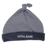 Stephan Baby, Total Babe Striped Cap, Cotton & Spandex, Navy & White, 6 to 12 Months