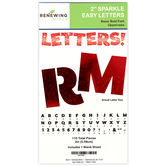 Renewing Minds, Red Sparkle Bulletin Board Letters, Uppercase, 2 Inches, Red, 110 Pieces