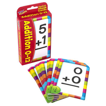 TREND enterprises, Inc., Addition 0-12 Pocket Flash Cards, 56 Cards, 3 1/8 x 5 1/4 inches, Ages 5-7
