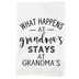 What Happens At Grandma's Tea Towel, Fabric, White and Black, 26 1/2 x 27 1/2 inches