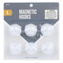 Magnetic Hooks, White, 1 1/4 inches Each, Set of 6