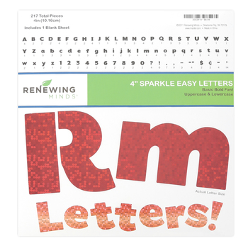 Renewing Minds, Red Sparkle Bulletin Board Letters, Upper and Lowercase, 4 Inches, Red, 221 Pieces
