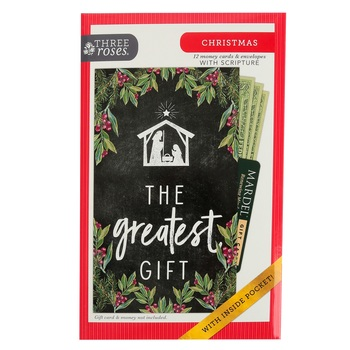 ThreeRoses, John 1:14 The Greatest Gift Boxed Money Christmas Cards, 4 1/4 x 7 1/4 inches, 12 cards