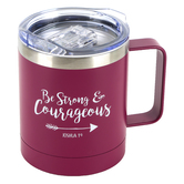 Christian Art Gifts, Joshua 1:9 Be Strong & Courageous Camp Mug, Stainless Steel, Berry, 12 ounces