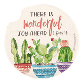 Renewing Faith, 1 Peter 1:6 There Is Wonderful Joy Ahead Car Coaster, Absorbent Sandstone, White, 2 1/2 inches
