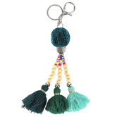 Iron Orchid Studio, Beaded Tassel Key Chain, Green, 8 1/2 x 2 3/4 inches