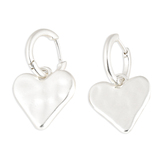 His Truly, Hoop with Heart Dangle Earrings, Zinc Alloy, Brushed Silver