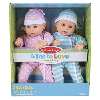 Melissa & Doug, Mine to Love Twins Luke & Lucy Dolls, 8 Pieces, Ages 18 Months and Older