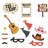 Western Party Photo Booth Props, Multi-Colored, Assortment, 14 Count