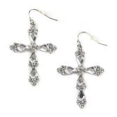Faithful and Fabulous, Bling Cross Dangle Earrings, Zinc Alloy and Glass, Silver