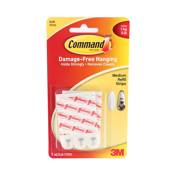 Command, Medium Refill Strips, Clear, 9 Pack