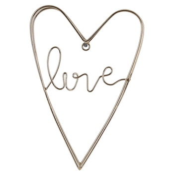 Gold Love Heart Metal Wall Decor, Welded Metal Wire, 9 3/4 x 6 7/8 x 1 1/8 inches