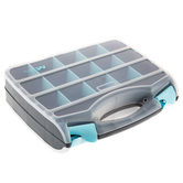 ArtBin, Double-Sided Quick View Case with Removable Dividers, Gray & Teal, 12 1/2 x 10 1/4 inches