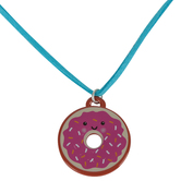 Glitter and Grace, Donut You Know Jesus Loves You Leather Cord Necklace, Blue/Silver, 16 inch Cord