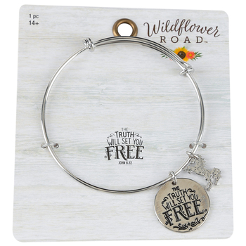 Wildflower Road, John 8:32 The Truth Will Set You Free Wire Bracelet, Silver