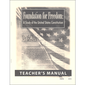 Christian Liberty Press, Foundation for Freedom Teacher Manual, Paper, 31 Pages, Grades 8-12