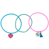 Glitter and Grace, Be Kind Silicone Charm Bracelet Set, Pink/Blue/Turquoise/Gold, 3 Pieces