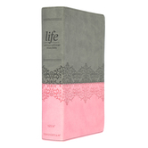 NIV Life Application Study Bible, Third Edition, Imitation Leather, Gray & Pink, Thumb Indexed