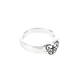 Dicksons, Heart with Engraved Cross and Scrolls, Women's Ring, Silver Plated, Sizes 6-9