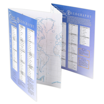 Classical Conversations, Trivium Tables: World Geography, Laminated Fold-Out Guide, 5th Ed, Grades 2-12
